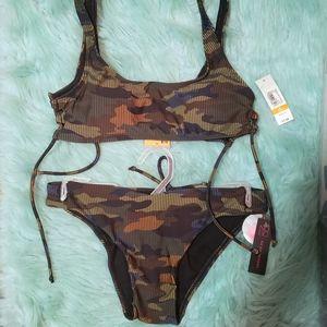 NWT Camo Bikini Swimsuit with Tie Up Sides